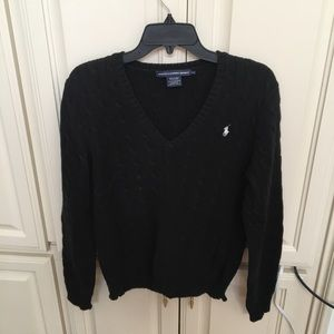 Ralph Lauren Sport Black Cable Knit V Neck Sweater